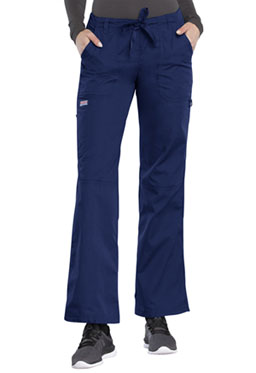 Cherokee Workwear Straight-Leg Drawstring Cargo Pant #4020 White & Navy