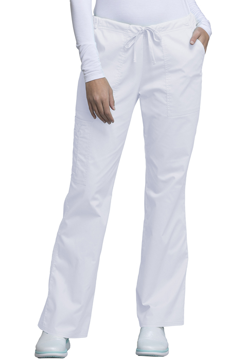 Cherokee Core Stretch Flare-Leg Drawstring Cargo Pant #4044 Navy & White